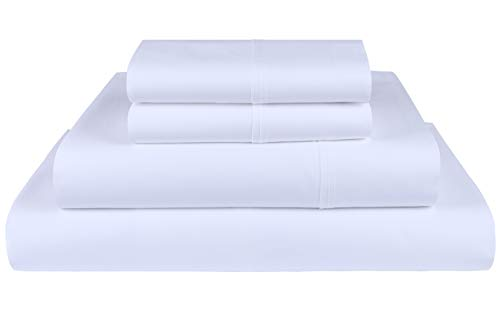Threadmill Home Linen 1200 Thread Count 100% Supima ELS American Grown Cotton White Queen Bed Sheets Set, Super Luxury 4-Piece Bedding Sheets, Smooth Sateen