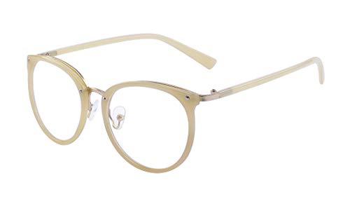 ALWAYSUV Retro Fashion Klassische Brille Metall rundem Druck Metall Vollrahmen-Gläser mit klarer Linse für Frauen/Männer