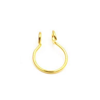 SMXGF 10st U-vormige valse neus Ring Hoop Septum Ringen Stainless Steel Nose Piercing Fake Piercing Oreja Piercing Nose Ring Jewelry (Main Stone Color : Inner Dia 10mm, Metal color : Gold 10pcs)