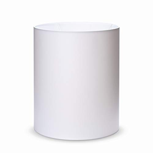 Stoff Zylinder Lampenschirm Aufnahme E27 Made in Europe 33x40cm Textilschirm Tischlampe Stehlampe rund weiß braun grau Hängeleuchte (weiß)