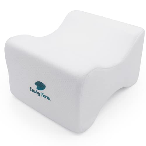 Cushy Form Knee Pillow for Side Sleepers - 10.5 x 8.5 x 6 Orthopedic Leg Pillows for Hip & Lower Back Pain - Contour Memory Foam Cushion for Pregnancy, Washable Cover & Storage Bag, White