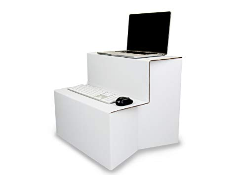 Portable Standing Desk Converter by Ghostand | Exclusive Two-Tier Durable Cardboard Ergonomic Design