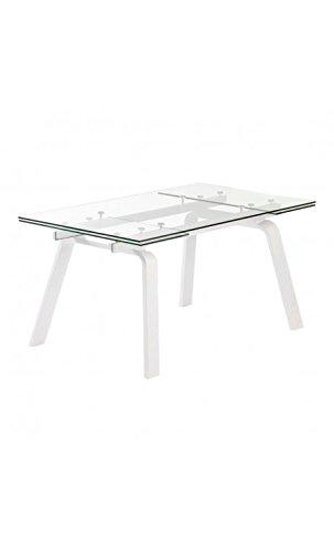 CAMINO A CASA - Table à rallonges Bois Blanc et Verre Moon 160-240 cm