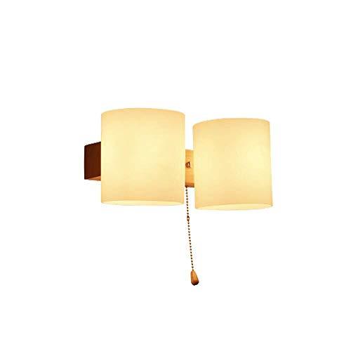 Sgfccyl wandlamp, creatief, modern, minimalistisch, plafond van massief hout, natuurlijke textuur, trekschakelaar