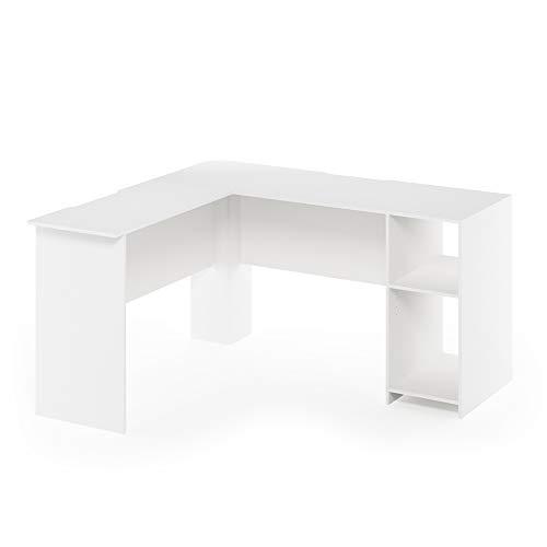 Furinno Indo L-Shaped Desk, White