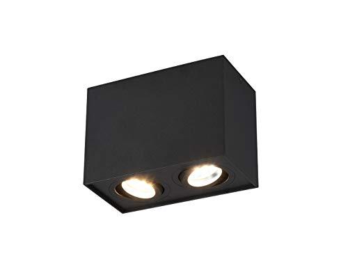 Faretti da soffitto a forma di cubo, con LED e 2 faretti orientabili, colore: nero opaco
