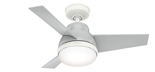 HUNTER 51328 Valda Indoor Ceiling Fan with LED Light and Remote Control, 36', Dove Grey