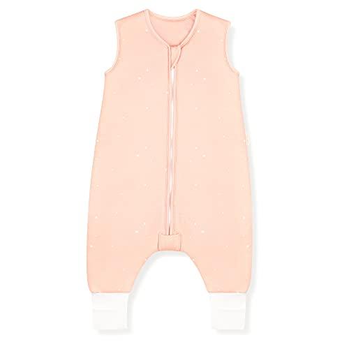 Sleeping Rebels® Baby Schlafsack mit Füßen Sommer - Sommerschlafsack mit Beinen Bio-Baumwolle - Babyschlafsack - Schlafsack Kinder - 1.0 TOG - Oeko-TEX - Premium Qualität (Peach Stars, 100 cm)
