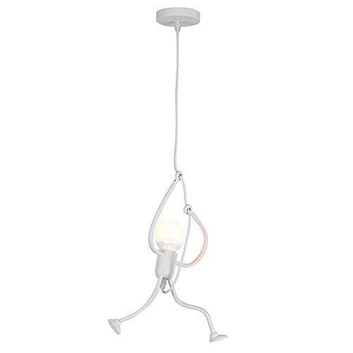 Lampada a sospensione industriale lampadario soggiorno, creativo lampadario in ferro adatto per camera da letto e sala da pranzo, E27 lampadina non inclusa, Bianco