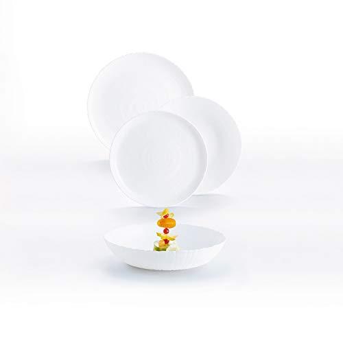 Luminarc 9319101 Vajilla de vidrio opal extra resistente para 6 personas, 18 piezas, Sin BPA, Hecha en Francia