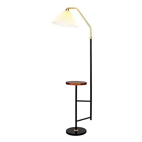 HQXH Lámpara de pie con Bandeja de Madera, Carga inalámbrica, Carga USB, 9W, 12W, lámpara de pie de Metal Negro,9w White