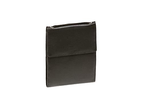 LEAS Pochette de sécurité pochette tour de cou pochette à porter avec compartiment pièces en cuir véritable, noir Travel-Line''