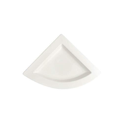 Villeroy & Boch NewWave Plato Plano Triangular, de Onduladas Formas, Porcelana, Blanco, 22 cm