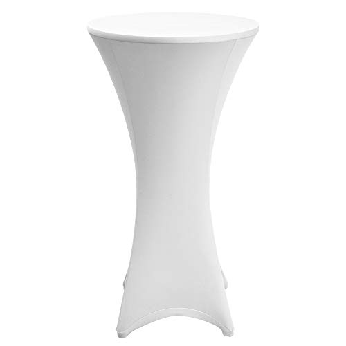 Beautissu Mantel elástico Stella - Hermosa Funda elástica para Mesa Bistro Coctel - Cobertura Revestimiento - Mantel de diseño - Ø 70-75cm - Blanco