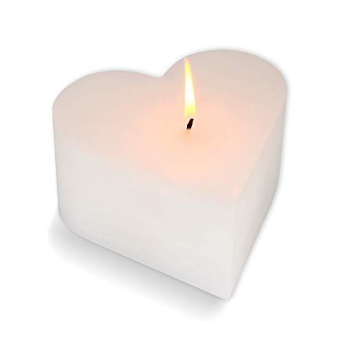 Mamatura Edle Herzkerze | Kerze in Herzform | Dekokerze Love | Liebe Valentienstag Hochzeit Geschenk (Weiß)