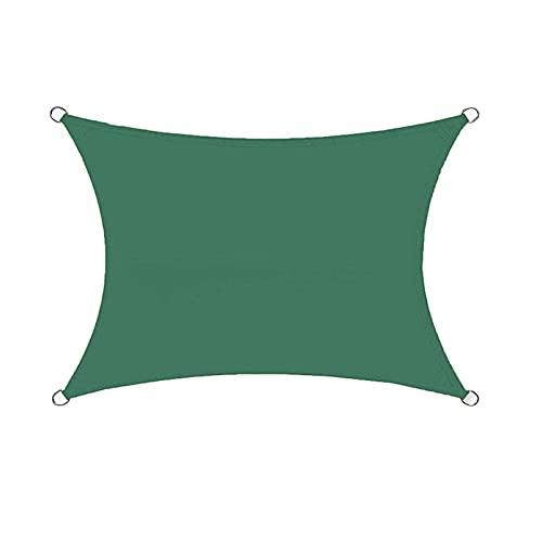 FFKL Parasol Rectangular Impermeable Parasol 95% Protección UV Toldo Solar Jardín Playa Terraza Toldo,Green-5X5m