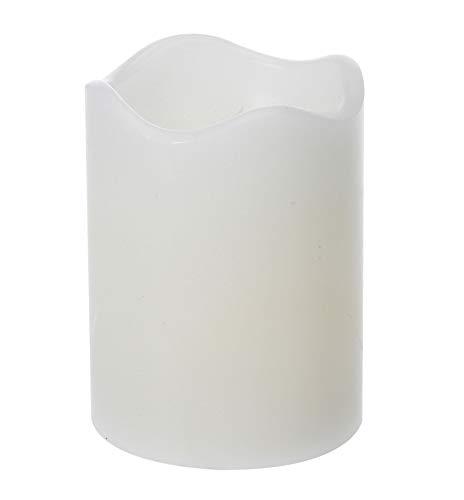 LED Echtwachskerze in weiß 7x9 cm - LED Kerze mit Timer - imitiert echtes Kerzenflackern Wachskerze für Adventskranz etc.
