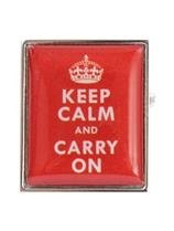 DLC Keep Calm und Carry on Manschettenknöpfe Rot