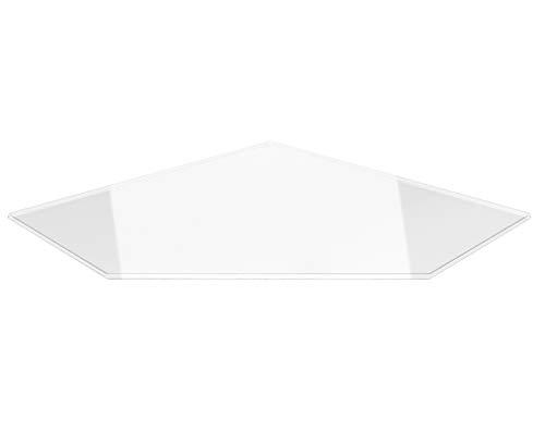 Fünfeck 90x90cm - Funkenschutzplatte Klarglas Kaminbodenplatte Glasplatte Kaminofenunterlage Ofenplatte (Fünfeck 90x90cm mit Silikon-Dichtung)