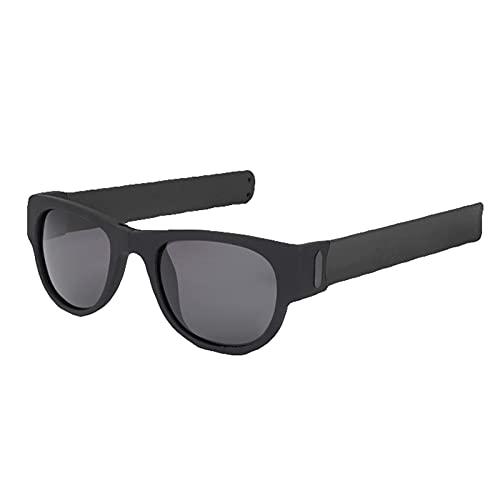 ZPFQFC Gafas de Sol Plegables de la muñeca: Gafas de Sol polarizadas Plegables Bofetadas y Clip en muñeca, Bicicletas para Adultos y niños Negros