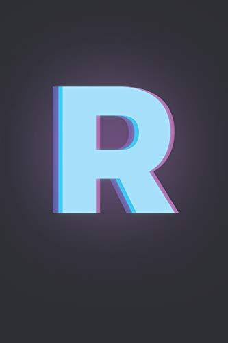 R: 3D Letter R initial Alphabet Monograme Notebook, Pretty pink & Blue letter monogramend Blank lined Note Book Journal for kids girls & women, Size 6x9 Matt Finish Cover.
