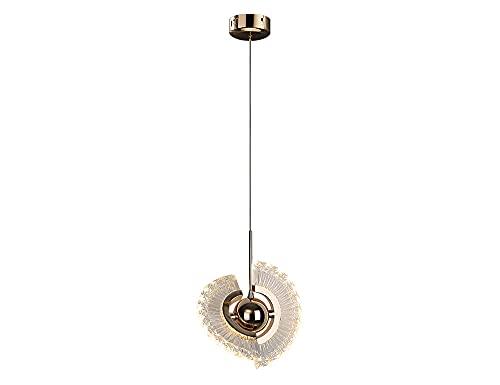 DSYADT 6W Iluminación Colgante Candelabros De Aleación Catalpa Fuente De Luz LED Giratoria Aleación De Aluminio De Un Solo Cabezal Luces Colgantes Pantalla De Acrílico Lámpara De Techo De Metal