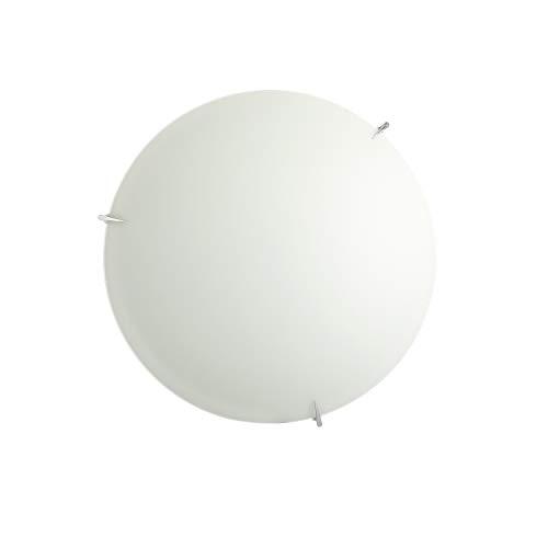 ONLI Plafoniera in vetro bianco satinato con ganci cromati. Diametro 40cm, MEDIO