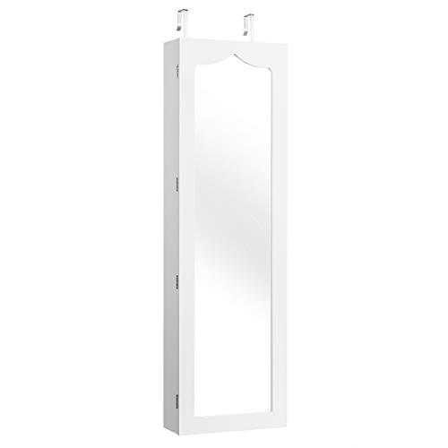 COSTWAY Armario para Joyas con Espejo,Iluminación LED,6 Cajone,Cerradura Estante para Joyero Organizador Montar en Puerta y Pared Blanco