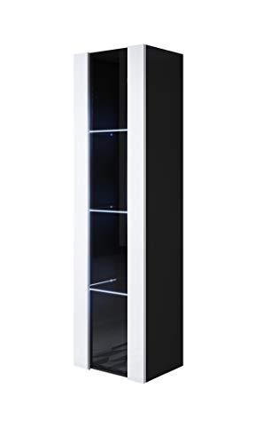 muebles bonitos Vitrina Luke V5 (40x165cm) Color Negro y Blanco