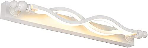 QEGY LED Sobre Lámpara de espejo Cuarto de baño Blanco, Luz de espejo de baño moderno de 14W con 3 colores de color, 6 0CM Luz de pared ajustable interior con cabeza de lámpara giratoria, luz de maqui