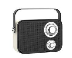 Sylvania Bluetooth Speaker, Retro Vintage Surround Sound Outdoor Wireless Boombox Speaker for Ipad, iPhone, Samsung, Pixel and Other Music Players, with FM Radio