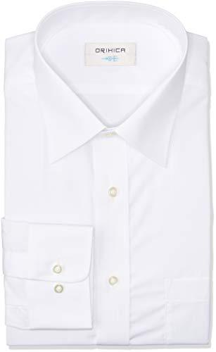 [オリヒカ] 長袖 形態安定ワイシャツ 防菌防臭機能付き 選べるバリエーション 【ワイドカラー/ボタンダウン】 メンズ 白(ATLW2981) LL