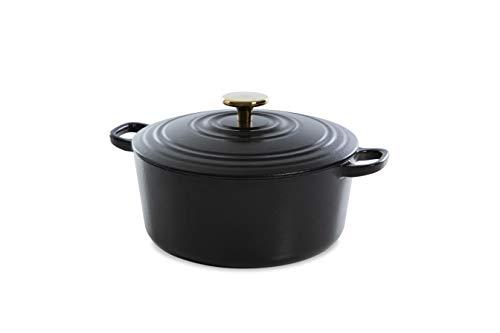 BK Cookware H6079.524 BK Bourgogne Cocotte en Fonte Ronde 24 cm/4.2L, Revêtement émaillé, Couvercle avec Anneaux pour Garder la Condensation, Four/Induction/Lave-Vaisselle, Noir de Poix
