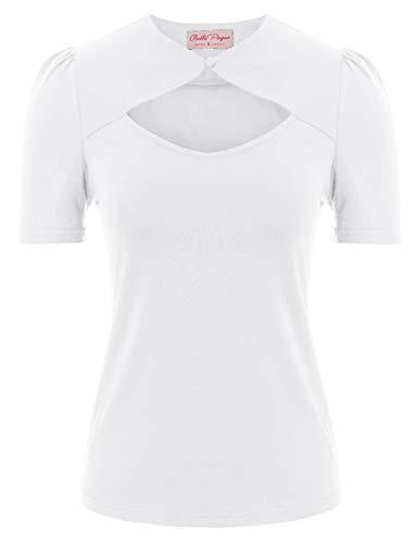50er Jahre Tops Vintage Retro T-Shirt Weiss Kurzarm Oberteil Bluse XL BP862-3