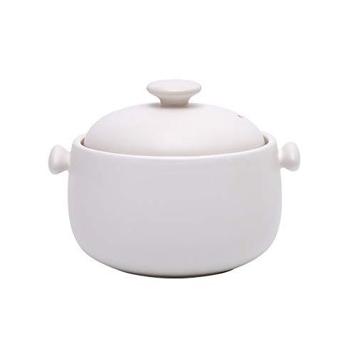 Olla De Cerámica Olla De Barro For Cocinar Cazuela Plato Durable Seguro Y Saludable Multiuso, Capacidad 1.8L regalo (Color : Blanco)