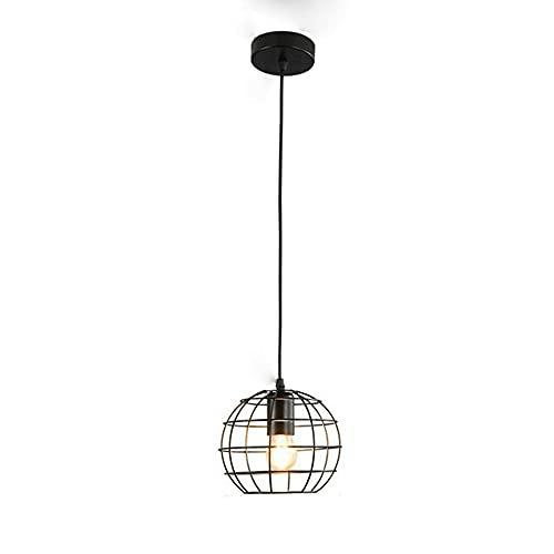 CHENBAI Lámpara colgante esférica vintage, luces colgantes de techo con forma de globo de jaula de metal industrial, lámpara de araña de hierro forjado rústico, para cocina, isla, comedor, granja, ent