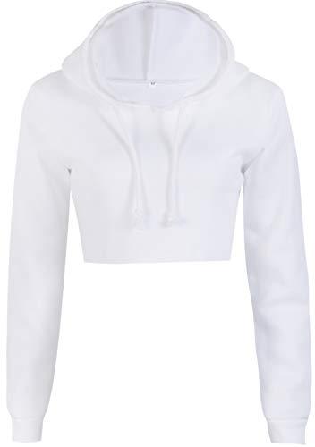 Carolilly Damen Mode Streetwear Bauchfrei Top Hoodie Langarm Sweatshirt Pulli Weiss Kapuzenpullover (S, Weiß)