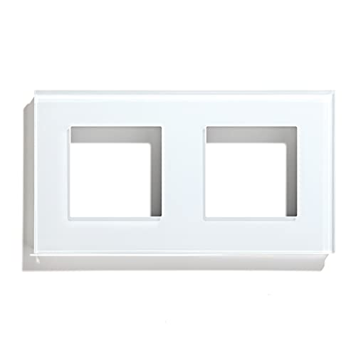 BSEED Rahmen Glasrahmen Panel für Lichtschalter und Steckdose Kristall Glasscheibe für Wandlichtschalter und Steckdosen Weiß 157mm