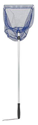 Idena 7781107 Kescher aus Aluminium mit ausziehbarem Teleskop Stiel, 115 cm bis ca. 190 cm, zum Angeln oder für Kinder, blau, bunt