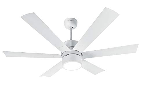 Halonix Hexa 1200mm Ceiling Fan with Built-in 6 Colour LED Light and Remote (White)