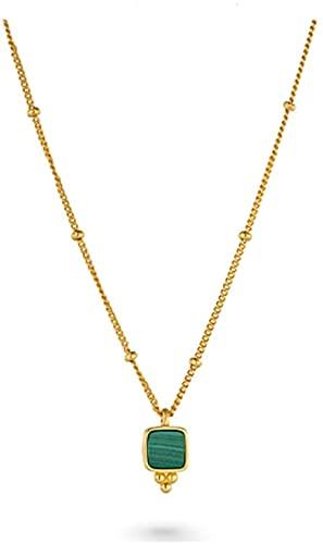 XINYUDAGE Halskette Malachit Halskette 925 Sterling Silber Fine Kette Temperament Exquisite Wild Pullover Kette Einfache Schlüsselbein Kette Gezeiten Frauen Anhänger Iteration