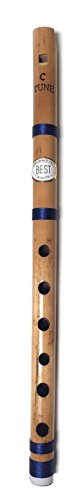 Beginners to Professional Indian Bamboo Flute Concert Natural Scale C 13 inch Fipple Flute Bamboo Bansuri Vansali