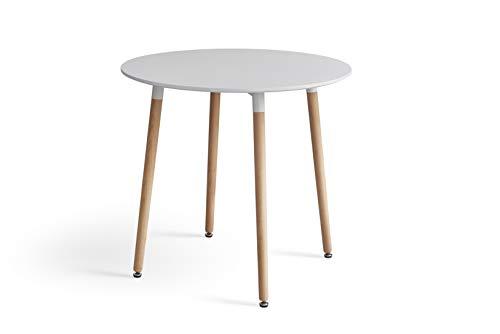 Y&D Home, tavolo da salotto moderno bianco rotondo da cucina, ristorante (80 x 80 x 75 cm)