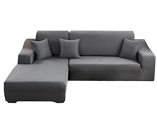 Funda de sofá elástica de color liso para sofá de 3 plazas + 3 plazas (el sofá esquinero en forma de L necesita dos)