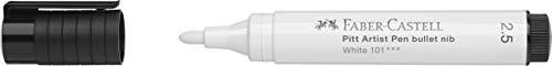 Faber-Castell 167601Pitt Artist Pen, 2,5mm, pointe ogive, blanc