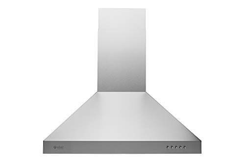 Hauslane | Chef Series Range Hood: WM-739 30' Wall Mount Kitchen Fan | Contemporary Stainless Steel T Style Hood with Black Glass Panel | 3 Speed 900 CFM Touch Control Wall Mount | Vented or Ductless