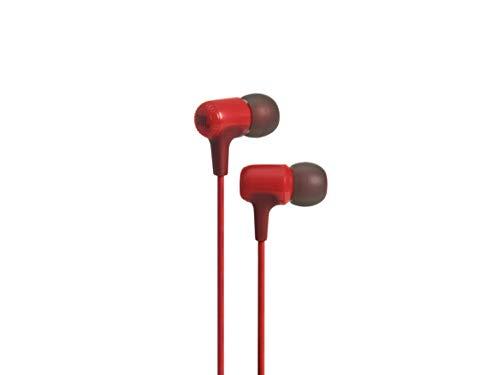 JBL E15 in-ear hoofdtelefoon oortelefoon met universele 1-knops afstandsbediening met geïntegreerde microfoon Compatibel met de meeste smartphones - Red