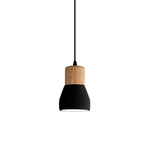PXY Mini Luces de Techo Colgantes de Madera Iza, Altura Ajustable de Araña de Cemento Retro Nórdico Lámpara Colgada de Hierro Labrado E27 Titular de Lámpara Art Deco Restaurant Bar Estudio,Negro