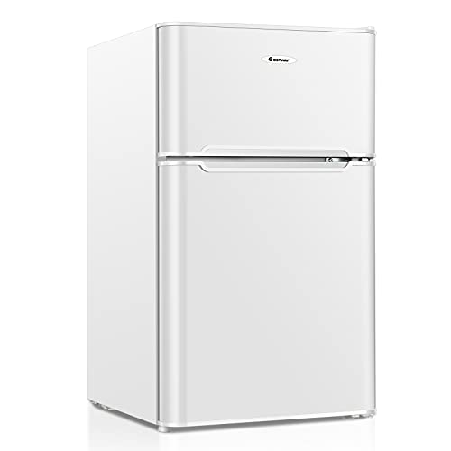 COSTWAY Compact Refrigerator, 2 Reversible Door 3.3 CU.FT. Mini Fridge and Freezer Compartment with Adjustable Thermostat & Removable Glass Shelves for Dorm Apartment Office (White)