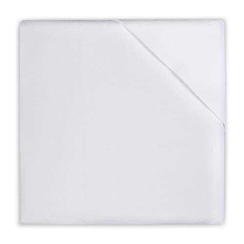 Jollein Flanellabdeckung (Molton-Gummituch) für Kinderbett oder Kinderbett 80x100cm Weiß, 013_0002, weiss